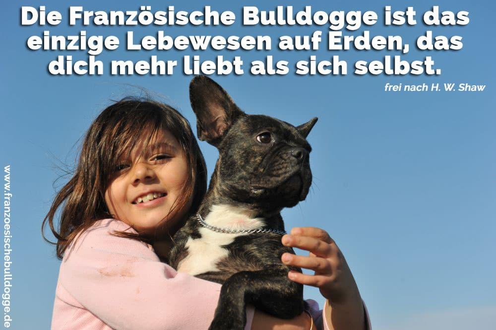 Ein Mädchen umarmt ihre Französische Bulldogge