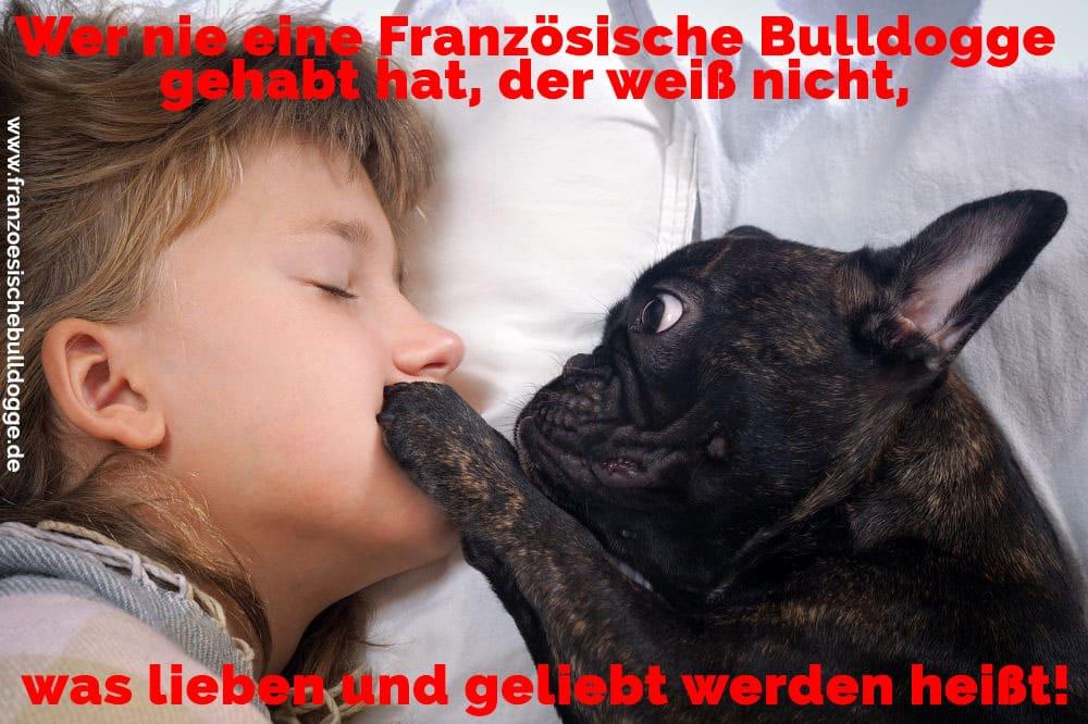 Ein Französisch Bulldog und ein Mädchen im Bett