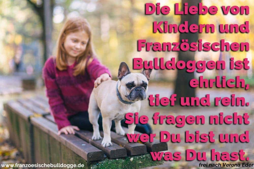 Ein Mädchen und ihr Französisch Bulldogge auf dem Platz
