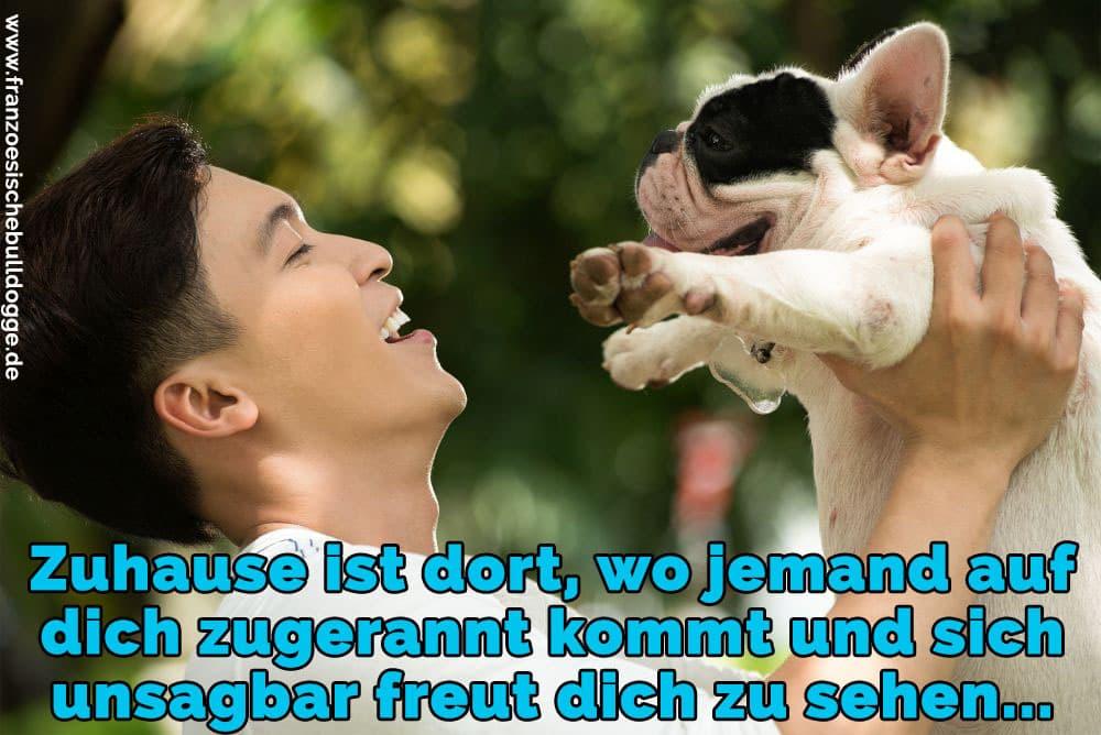 Ein Mann hebt seine Französisch Bulldogge in der Luft